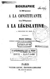 Biographie des 900 représentants à la Constituante et des 750 représentants à la Législative: session de 1849
