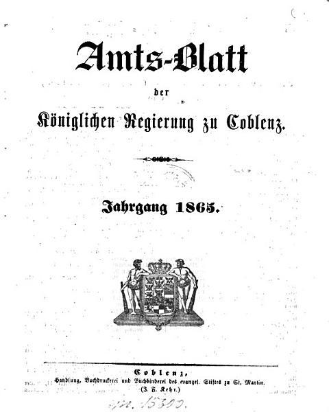 Amtsblatt Der Preusischen Regierung Zu Koblenz
