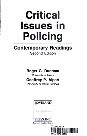 Critical Issues in Policing PDF
