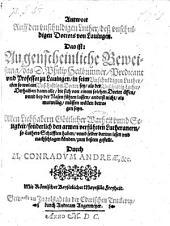 Antwort auff den vnschuldigen Luther, deß vnschuldigen Doctors von Lauingen (etc.)