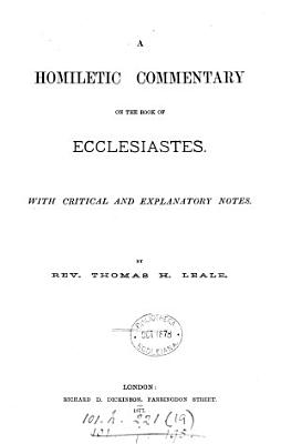 A homiletic commentary on the Book of Ecclesiastes PDF