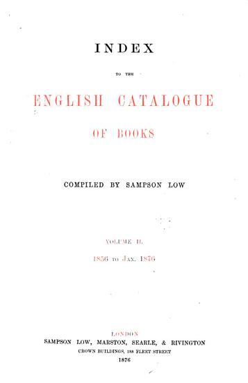 Index to the English Catalogue of Books     PDF
