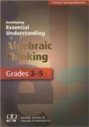 Developing Essential Understanding of Algebraic Thinking for Teaching Mathematics in Grades 3 5 PDF