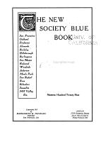 The New Society Blue Book  San Francisco  Oakland  Piedmont  Alameda  Berkeley  Hillsborough  Burlingame  San Mateo  Redwood  Woodside  Atherton  Menlo Park  San Rafael  Ross  Belvedere  Sausalito  Mill Valley  Etc PDF