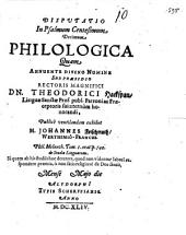Disputatio in Psalmum centesimum decimum philologica