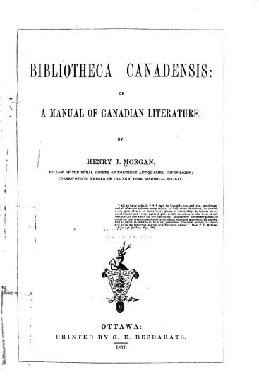 Bibliotheca Canadensis PDF