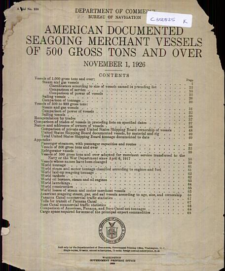 American Documented Seagoing Merchant Vessels of 500 Gross Tons and Over PDF