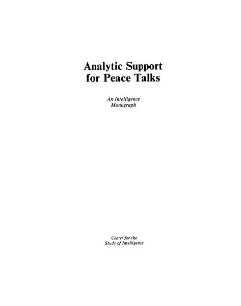 Download Analytic Support for Peace Talks Book