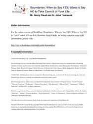Boundaries by Dr  Henry Cloud and Dr  John Townsend   Summary   Study Guide PDF