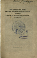 National Emergency Specifications for the Design of Reinforced Concrete Buildings PDF