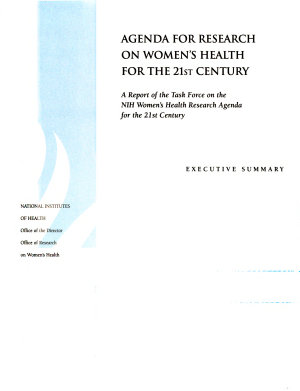 Agenda for Research on Women s Health for the 21st Century  Executive summary PDF