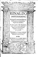 Inamoramento de Rinaldo. A poem, by G. Forti?