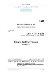GB/T 17241.6-2008: Translated English of Chinese Standard. (GBT 17241.6-2008, GB/T17241.6-2008, GBT17241.6-2008): Integral cast iron flanges.