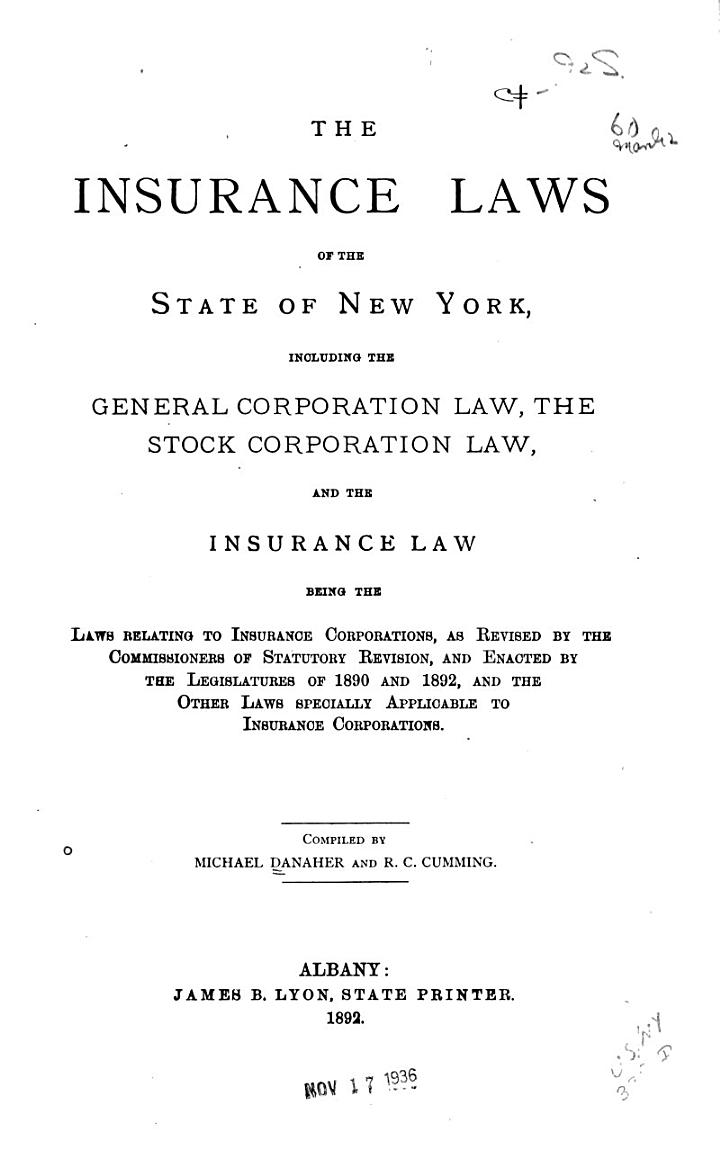 The Insurance Laws of the State of New York