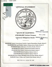 Official Statement  State of California   700 000 000 Various Purpose General Obligation Bonds PDF