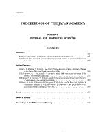 Proceedings of the Japan Academy PDF