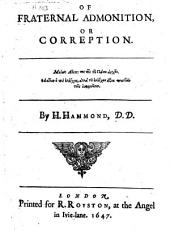 Of fraternal admonition, or correption