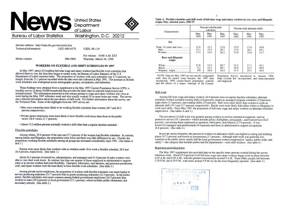 News  Workers On Flexible And Shift Schedule In 1997  USDL 98 119 PDF