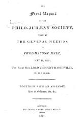 The First   Third Annual  Report of the Philo Judaean Society  Etc PDF