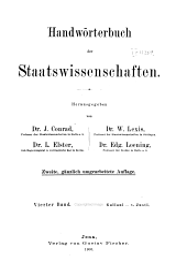 Handwörterbuch der Staatswissenschaften: Band 4