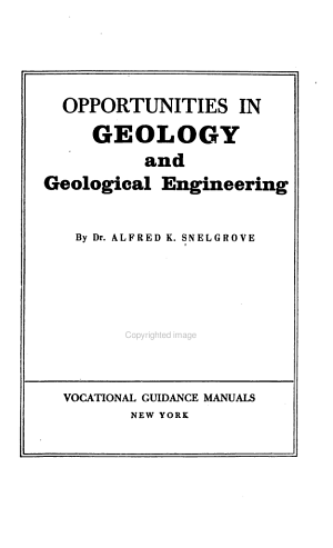 Opportunities in Geology and Geological Engineering PDF