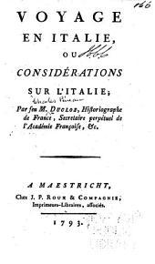 Voyage en Italie, ou considerations sur l'Italie. - Lausanne, Jean Mourer 1791.300 S.