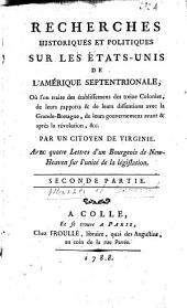 Lettres d'un bourgeois de New-Heaven à un citoyen de Virginie: sur l'inutilité de partager le pouvoir législatif entre plusieurs corps, Volume2
