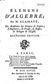 Elémens d'algèbre, par M. Clairaut,...