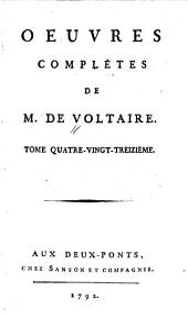 Oeuvres complètes de M. de Voltaire: Volume93