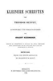 Kleinere Schriften von Theodor Benfey: Ausgewählt und hrsg von Adalbert Bezzenberger, Bände 1-2