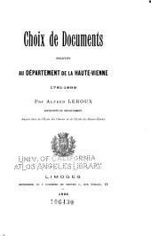 Choix de documents relatifs au département de la Haute-Vienne, 1791-1839