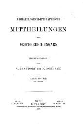 Archaeologisch-epigraphische mitteilungen aus Österreich: Bände 13-15