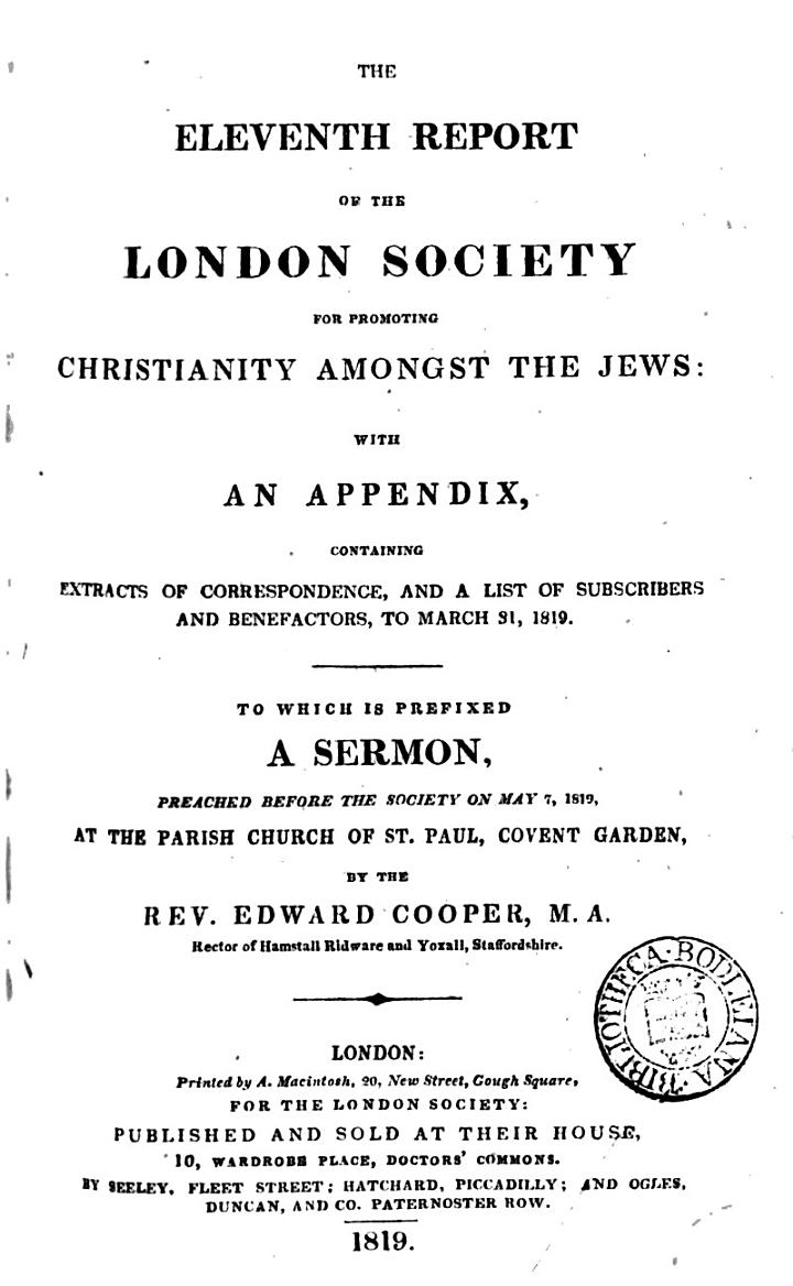 The Eleventh Report of the London Society for Promoting Christianity Amongst the Jews
