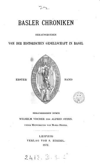 Basler Chroniken  herausg  durch W  Vischer  and others   PDF