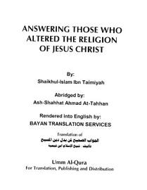 Answering Those Who Altred The Religion Of Jesus Christ