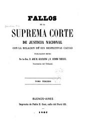 Fallos de la Corte Suprema de Justicia de la Nación: con la relación de sus respectivas causas ..., Volumen 3