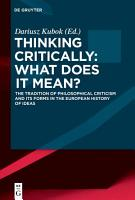 Thinking Critically  What Does It Mean  PDF