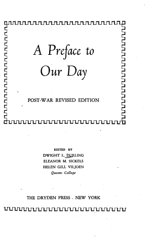 A Preface to Our Day
