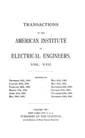 Transactions of the American Institute of Electrical Engineers: Volume 8