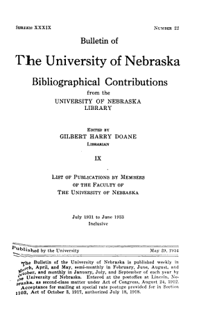 List of Publications by Members of the Faculty of the University of Nebraska PDF