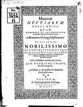 Materiae nuptiarum decas unica