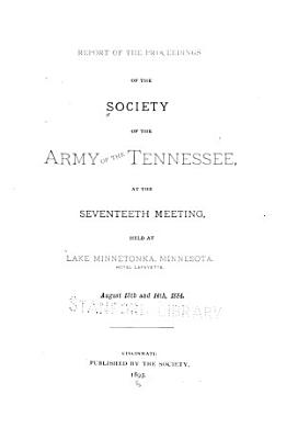 Report of the Proceedings of the Society of the Army of the Tennessee PDF