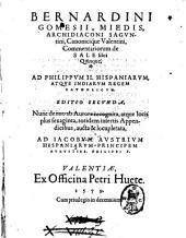 Bernardini Gomesii Miedis, ... Commentariorum de sale libri quinque, ..