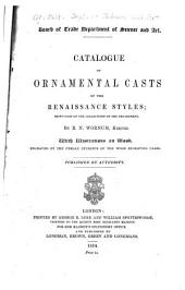 Catalogue of ornamental casts in the possession of the Department, Third Division: the Renaissance styles
