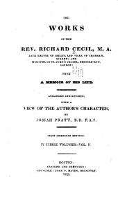 The works of the Rev. Richard Cecil ... with a memoir of his life: Arranged and rev., with a view of the author's character, Volume 2