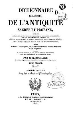 Dictionnaire classique de l antiquit   sacr  e et profane    PDF