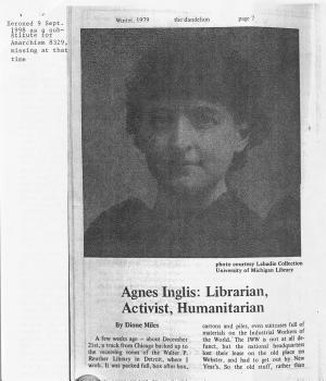 Agnes Inglis  Librarian  Activist  Humanitarian