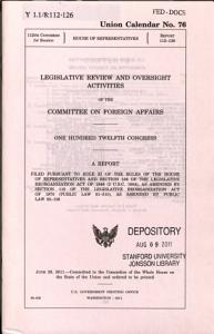 Legislative Review and Oversight Activities of the Committee on Foreign Affairs Book