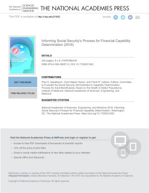 Informing Social Security s Process for Financial Capability Determination