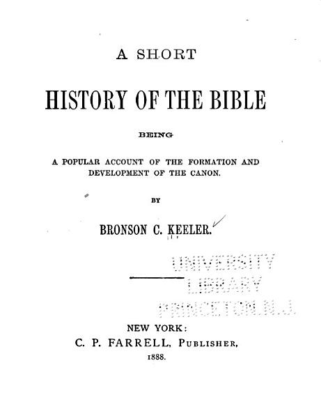 A Short History Of The Bible And New Testament
